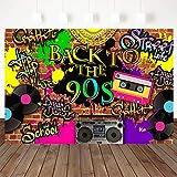 Mocsicka 90'S Backdrop Hip Hop Graffiti Brick Wall Retro Radio Fashion Photography Background 7X5ft Vinyl Back to The 90'S Themed Party Banner Decoration Backdrops