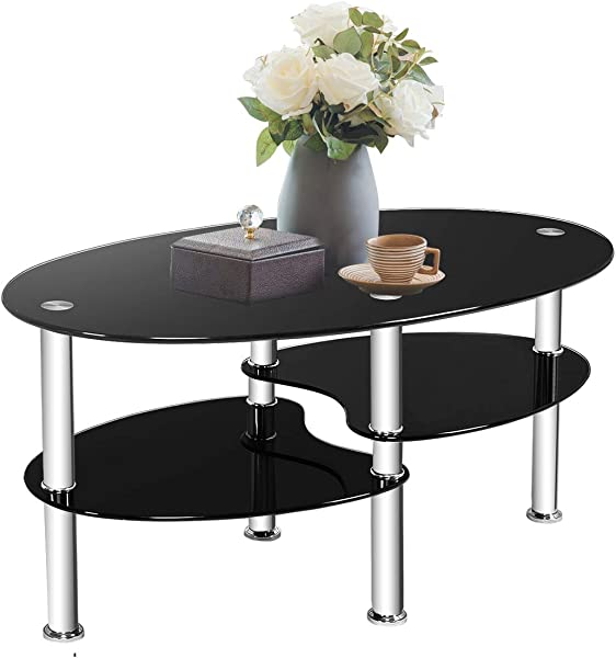 TANGKULA Glass Coffee Table Modern Furniture Decor 2 Tier Modern Oval Smooth Glass Tea Table End Table For Home Office With 2 Tier Tempered Glass Boards Sturdy Chrome Plated Legs