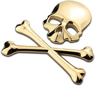 VORCOOL New 3D 3M Skull Metal Skeleton Crossbones Car Motorcycle Sticker Label Skull Emblem Badge Car Styling Stickers Decal (Gold)