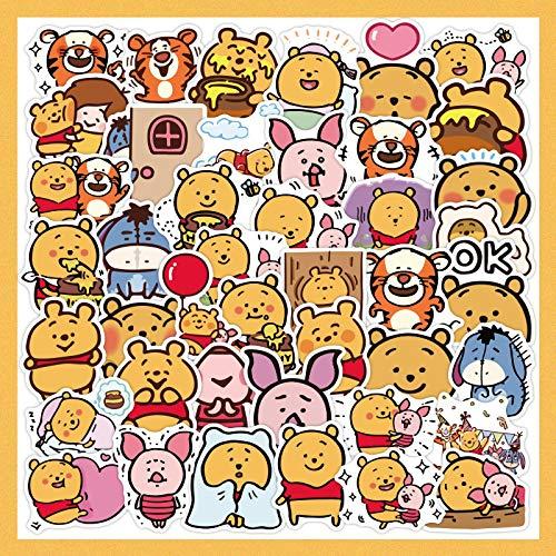 HHSM Pegatinas de oso de dibujos animados pegatinas de equipaje Pooh maleta decoración pegatinas impermeables DIY creativas pegatinas lindas 100 piezas