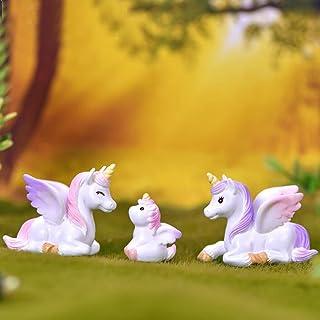 Miniature Unicorns Horse Figurines Animal Figure Figurine Fairy Garden Cake Toppers Decorations 3 PCS