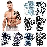 Grande tatuaggi temporanei, Howaf Spalla Braccio Maniche tatuaggi Falso Tatuaggi temporaneo tatoo adesivi corpo finti removibili per adulti donna uomo (8 fogli)