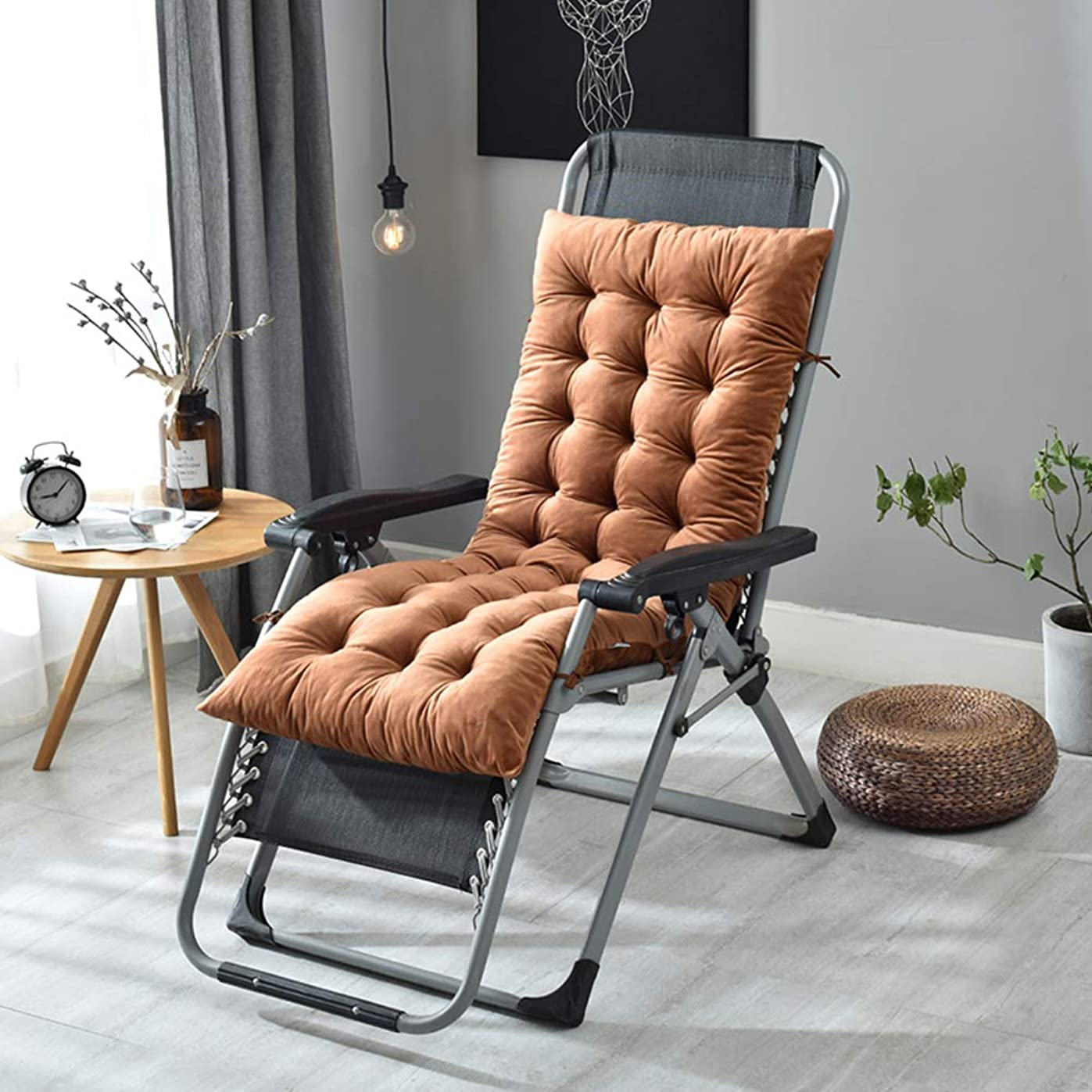 分子スケッチ多年生厚さ ラウンジ チェア クッション ベルベット ソフト コットン充填 背の高い チェアパッド シートクッション の ロッキングチェア オフィス テラスの椅子-ブラウン 50x130cm(20x51inch)