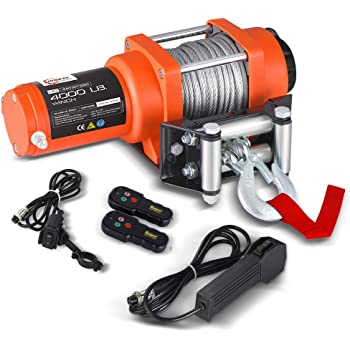"RUGCEL WINCH 12V DC ATV Winch Wireless Remote with Wire Rope: 3/16"" Diameter x 50' Length Waterproof Electric Winch Outdoor- 4000 lb. Load Capacity"