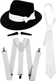 WHITE BRACES 6 PACK MEN/'S GANGSTER 20/'S 40/'S FANCY DRESS SUSPENDERS COSTUME