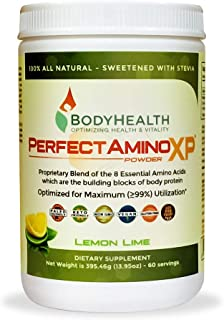 BodyHealth PerfectAmino XP Lemon Lime (60 Servings), Best Pre/Post Workout Recovery Drink, 8 Essential Amino Acids Energy ...