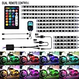XLANJINGJ 12Pcs Motorcycle LED Light Kit Strips Multi-Color Accent Glow Neon Ground Effect Atmosphere Lamp...