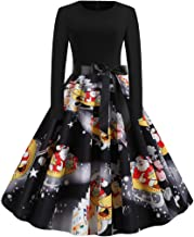 Xinantime Women Vintage Dress Halloween 50s Housewife Long Sleeve Evening Party Prom Dress