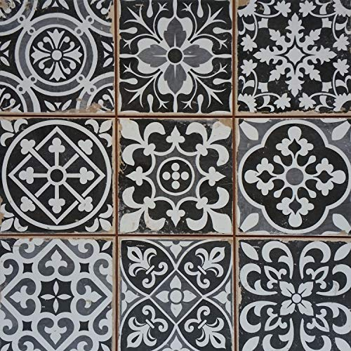 Casa Moro Mediterrane Patchwork Keramikfliesen Rahel Schwarz 33 x 33 cm 1 qm | Vintage Bodenfliesen Retro Fliese als Wanddekoration im Bad & Küchenrückwand | Schöne Küche Flur & Badezimmer | FL2111