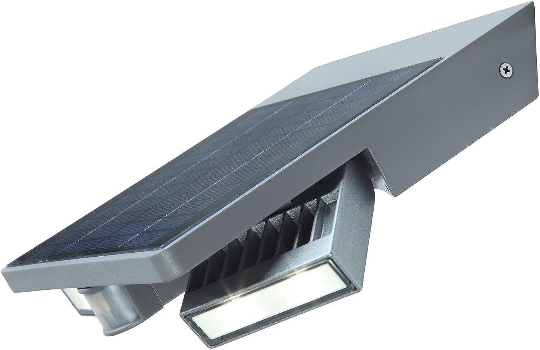LUTEC Solar-Auenwandleuchte Tily mit Solar Panel und Bewegungsmelder, wetterfester Kunststoff, LED 4 W, 420 Lumen, silber IP44 P 9012 SI