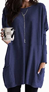 Casual Tops Womens Casual Long Sleeve Pullover Round Neck T Shirts Blouses Sweatshirts Tops with Pockets Tee (Color : Nav...