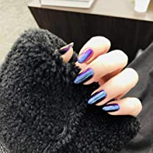 Milanco 24pcs Metallic Mirror Effect Coffin Full Cover Fake Nails Super Holographic 3D Alloy Blue Purple Nails Press On Nails (S042)