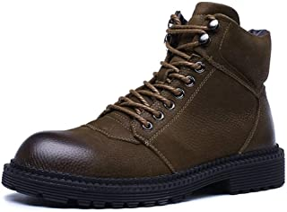 SHENTIANWEI Motocycle Combat Boots for Men Ankle Boot Lace Up Style Genuine Leather Warmth Anti Slip Cozy Winter Outdoor Shoes (Fleece Inside Option) (Color : Brown Fleece Lined, Size : 7.5 UK)