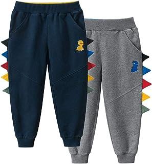 TOKYMOON Pack de 2 pantalones de chándal para niños de algodón con diseño de dinosaurios y caricatura estampada, pantalone...