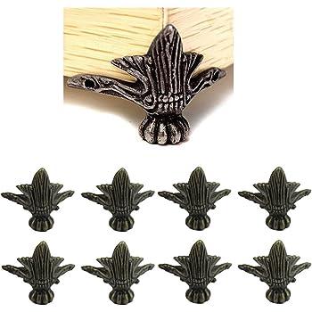 para muebles de esquina de bronce antiguo 16 piezas para caja de madera Patas decorativas de esquina de aleaci/ón de zinc antiguo