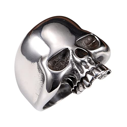 dd6e171eb3a Stainless Steel Men s Cool Skull Head Solid Ring Punk New