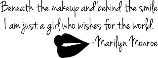 Wall Decal Quote Marilyn Monroe Red Lips Beneath the Makeup Behind Smile I Am Just a Girl Who Wishes the World