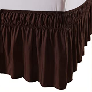 MEILA Bed Skirt Three Fabric Sides Elastic Wrap Around Dust Ruffled Solid Bed Skirts Easy On/Easy Off 16 Inch Tailored Drop, Chocolate, Queen/King