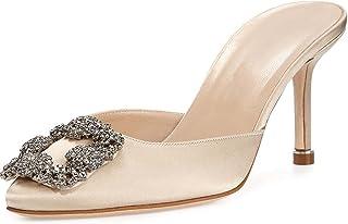 2786ec90d91b MAVIRS Women s Satin Pointy Toe Slide Sandals Rhinestones Kitten Heels  Pumps Jeweled Slingback Heeled Mules Shoes
