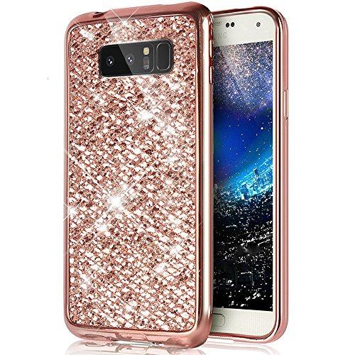 JAWSEU Kompatibel mit Samsung Galaxy Note 8 Hülle Luxus Shiny Glänzend Glitzer TPU Handyhülle Abdeckung Crystal Silikon Tasche Schutzhülle Shinning Strass Rückseite Hülle Etui Cover,Rose Gold