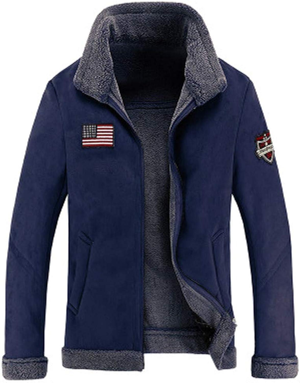 Lisin Men's Winter Autumn Fur Jacket Lamb's Down Pile Thickened Collar Coat
