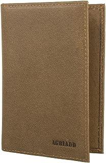 RFID Blocking Genuine Leather Passport Case Cover Holder Travel Wallet (Khaki)