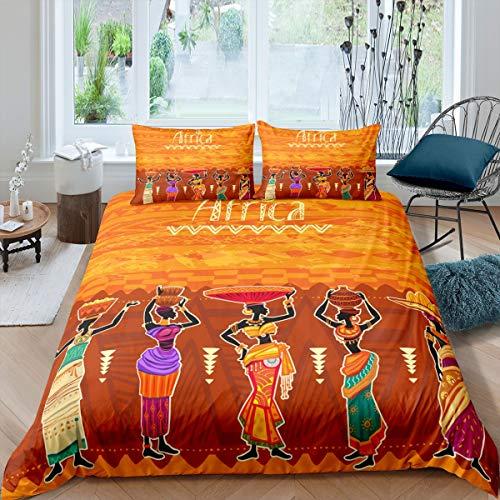 Loussiesd Afrikanische Frau Bettbezug Set Afrikanisches Muster Bettwäsche Set 135x200cm für Jungen Mädchen Kinder Ethnisches Afro Design Betten Set Fleckenresistent Exotischer Stil Raumdekor 2St