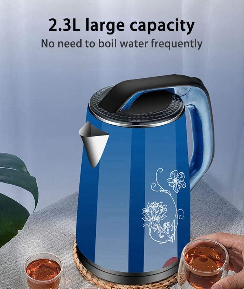 Electric Kettle 2.3 Liter, 1500W Roestvrij Staal Elektrische Waterkoker Met BPA-Vrij, Snel Koken, Droogkookbeveiliging Voor Thuiskantoor,Blue Blue