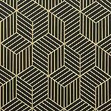 Timeet 45cm x 10m Papel Adhesivo para Muebles, Diseño de Geometría de Color Dorado y Negro, con Rayas Dorado, Papel Pintado Autoadhesivo, Vinilo Decorativo para Pared,Estanterías,Cajones