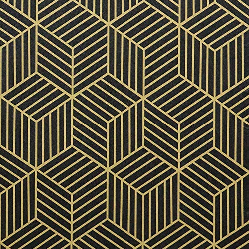 Timeet 45cmx10m Oro e Nero Geometria Spogliato Esagonale Carta Da Parati Adesiva Oro Strisce Adesivi Mobili Pellicola in Vinile Decorativo Mensola Cassetto Liner Rotolo