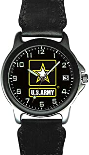 U.S. Army Chrome and Leather Mens Watch - 30m Water Resistant