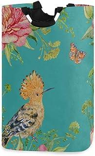 Panier à linge Sacs Rétro Huppe fasciée Fleur d'oiseau Feuille verte Panier à linge pour ados Filles Grand panier à linge ...