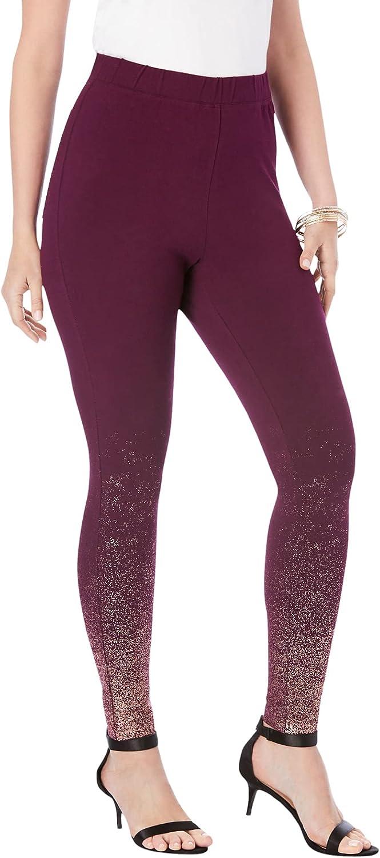 Roamans Women's Plus Size Metallic-Ombré Print Legging