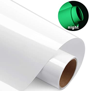 10 Inch x 5 Feet Glossy Adhesive Craft HTV Glow in Dark Vinyl for T-Shirts, Hats, Clothing, Iron on HTV Compatible with Cricut, Cameo, Heat Press Machines, Sublimation (Green)
