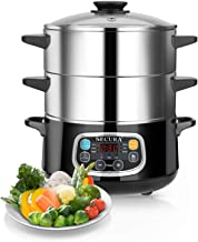 Secura Electric Food Steamer, Vegetable Steamer Double Tiered Stackable Baskets with Timer, 1200W Fast Heating Stainless Steel Digital Steamer 8.5 Quart