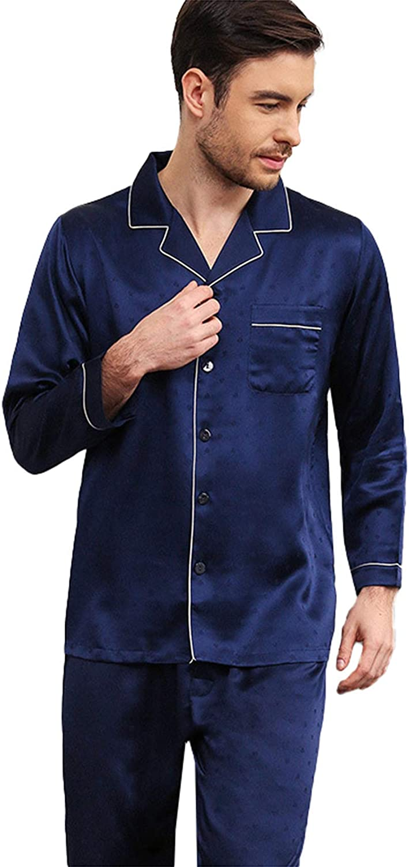 FMOGG Men's Pajama Set Long Sleeve Sleepwear Button Down Tops and Pants Classic 100% Mulberry Silk Heavy Silk Jacquard Silkworm Nightgown Two-Piece Homewear Set