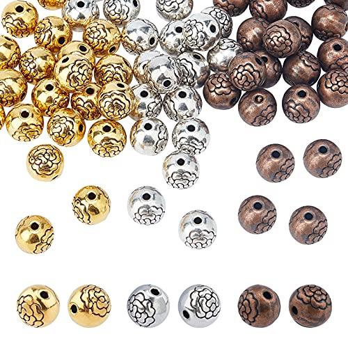 PandaHall 60pcs 3 colores tibetanos espaciadores de flores perlas 8mm redondo metal suelto cuentas encontraciones para hacer joyas pulseras pendientes bolsa accesorios decorativos