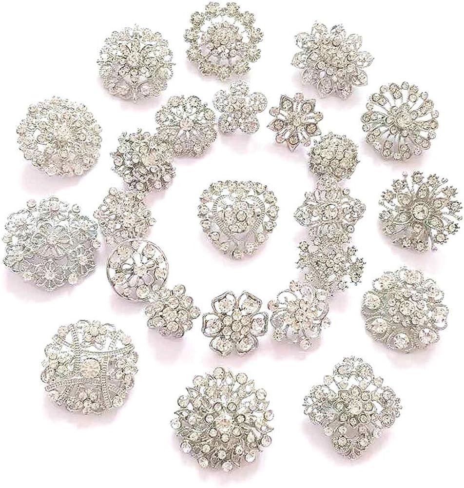 ZINSBEDI 24pcs Lot Rhinestone Crystal Brooches Max 80% OFF Pin Flower Set Purchase