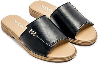 AUCDK Women Mules Sandals Size 41 Black PU Leather Flip Flops Summer Mules Sandals Peep Toe Beach Shoes
