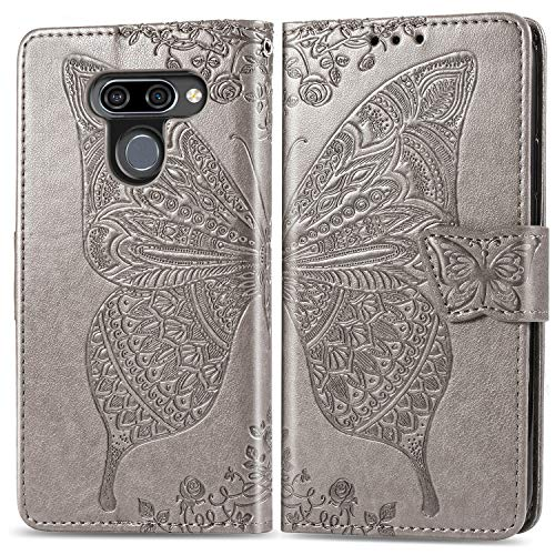 Leather Wallet Case for LG K50 / LG Q60, Flip Case Leather with Kickstand,Folio Magnetic Closure Protective Cover with Card Slots for LG K50 / LG Q60 - DESD020956 Grey