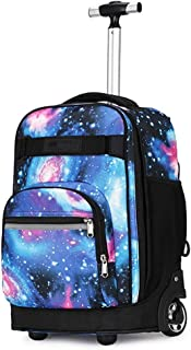 ZTHUAYUAN Women's Mini Backpack Trolley Backpack, Multifunction Nylon Waterproof Wheeled Rolling Rucksack for Boys and Girls School Student Books Laptop Travel Trolley Bag Daypack (Color : 2)
