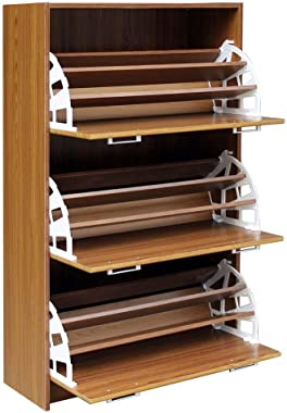 "4D Concepts DELUXE TRIPLE SHOE CABINET (light walnut), 11.4""D x 29.3""W x 49.6""H,"