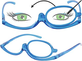 SOOLALA 2 Pack Womens Magnifying Eye Make Up Spectacles Flip Down Lens Folding Cosmetic Reading Glasses, 2Blue, 2.0