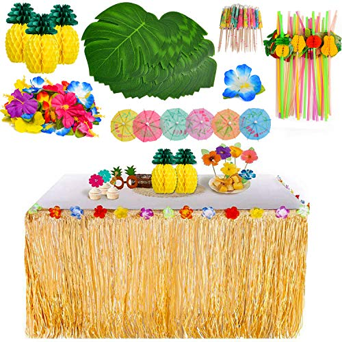 YQing 119 Pieces Hawaiian Luau Grass Table Skirt Set, Palm Leaves, Hawaiian Flowers, Multicolored Umbrellas, Paper Pineapples and 3D Fruit Straws for BBQ Garden Summer Tiki Party Decoration