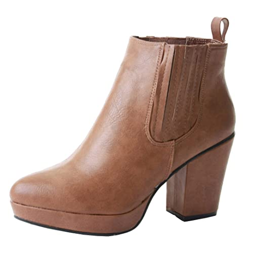 e00107cf47e POP Womens Ladies Chelsea MID HIGH Heel Booties Heeled Block Platform  Winter Ankle Boots Size 3
