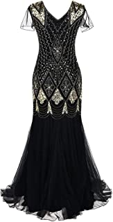 Christmas Women's Holiday Vintage Black Evening Prom Costume 1920s Bead Fringe Sequin Lace Floor Length Cocktail Party Dress