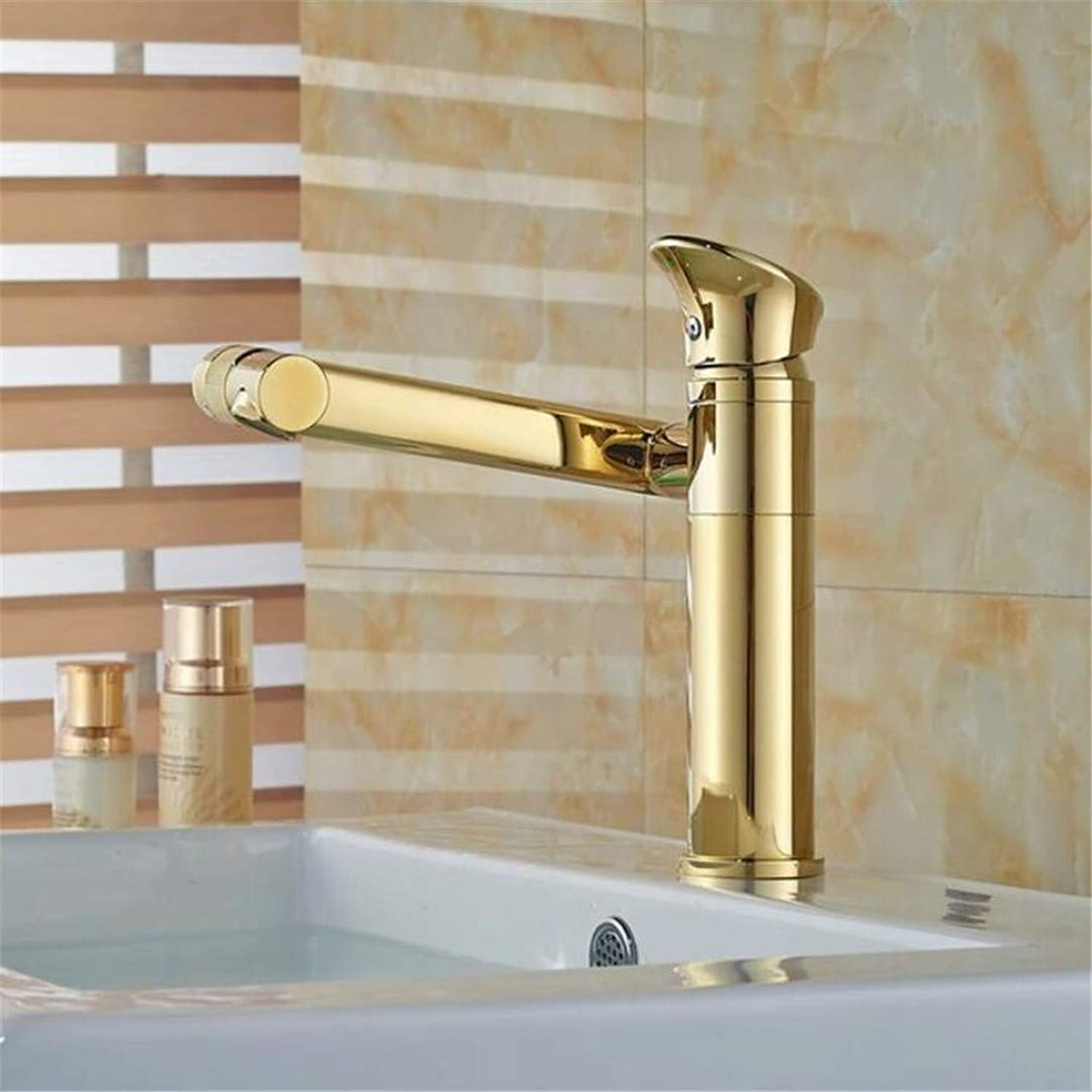 Faucet Washbasin Mixer Wholesale and Retail golden Finish Basin Faucet 180 Degree Bathroom Sink Tap Hot&Cold Tap One Hole