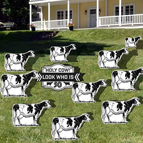 Birthday Yard Decoration - Holy Cow! Look Who is 50, 11pcs with Short Stakes, 12572