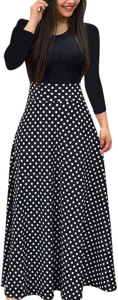 Qiran Vestido vintage para mujer, de manga larga, estampado ...