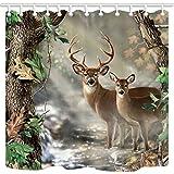 KOTOM TANSTAN Deer Decor,Waterproof Fabric Elk Foggy Forest Shower Curtain, Hooks Included, 71X71 inch